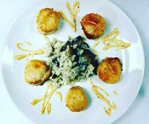 Seared Scallops, Mushroom Risotto